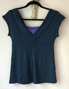 Patagonia Top M Fitness Workout Layered V-Neck Teal Blue Purple Nylon Stretch