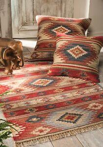 Kashi Kilim Area Rug Red Multi Colour  Fine Wool Cotton Fair Trade