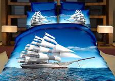 3 tlg.3D Effekt Bettwäsche Bettbezug Bettgarnitur 155 x 200 cm Segelschiff Meer