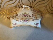Gorgeous Antique Crown Ducal Verona Blush Ware Lidded Box