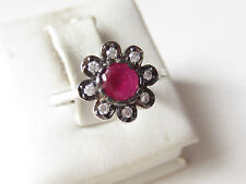 925 Sterling Silver Turkish Ottoman Hurrem Sultan Ruby FLOWER Ring Size 8