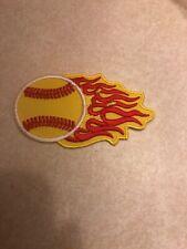 New Youth Girls Fastpitch Softball 3� Iron-On/Sew Patch Flaming Yellow Ball Heat