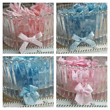 10 x Satin Ribbon pre-tied Polka Dot bows with pearl. Pink Blue New Baby Shower