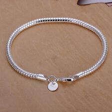 Wholesale 925 Silver Bracelet 3mm Snake Chain Women Men Fashion jewelry