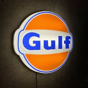 GULF LOGO LED LIGHT BOX ILLUMINATED WALL SIGN GARAGE PETROL STATION GAS OIL