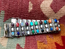Rare SANEL Sterling Silver Semiprecious Stones Link Bracelet 6 3/4 Inches