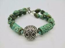 29.2 Gram Carved Stone Silver Turquoise Bracelet 7.5 inches