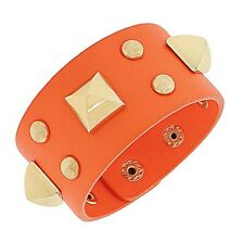 Orange Leather Rose Gold-Tone Spikes Wide Wristband Wrap Womens Bracelet