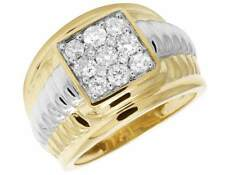 10K Two Tone Gold Genuine Diamond Groove Square Pinky Statement Ring 1.33ct 12MM