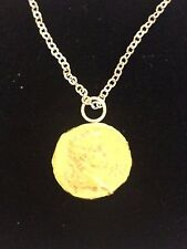 """Victorian Soverign Coin WC32 Gold Made In Pewter On 16"""" Silver Plated Necklace"""