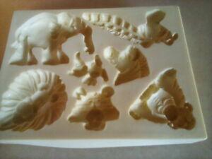 Jungle Zoo Animals.Lion, monkey, giraffe,elephant,Tiger Bird Silicone Push Mold,