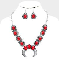 SQUASH BLOSSOM NECKLACE SET IN SILVER TONE AND RED.    19 inch adj.
