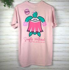 NWT Women's Simply Southern T-Shirt Turtle Cheerleader Cheer Pom Pom Pink Sz L