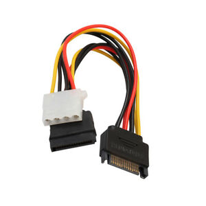 SATA 15-pol male on 15-pol SATA Female and 4-pol. LP4-Female Y-Cable Adapter