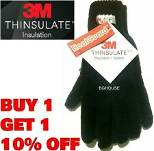 Gloves Thermal Thinsulate Fingerless Knitted Wooly 3m Black Mens Ladies