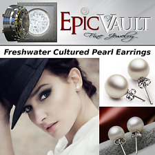 EPIC FASHION- Freshwater Cultured Pearl Stud Earrings- Sterling Silver