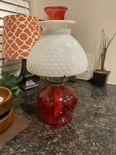Fenton? Vintage Ruby Red Oil Lamp With White Milk Glass Hobnail Globe