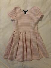 Polo Ralph Lauren Girls Dress Pink Stripes Sz 7 Small