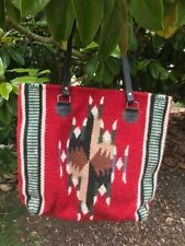 Handwoven Artisan Wool & Leather Large Tote Zipper Closure Red/Multi