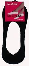 NEW LADIES SZ 2-8 BLACK COTTON NO SHOW SOCKLETS/FOOTLETS