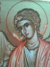 Vintage Icon Saint Greek Painted Father Pefkis Athos Goldleaf Signed Seal Cert