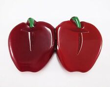 RARE VINTAGE CARVED BAKELITE APPLE BELT BUCKLE CHERRY TOMATO RED PAINTED FRUIT