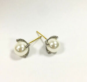 David Yurman cable sterling silver four-claw pearl stud earrings with diamonds