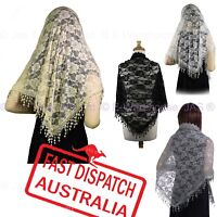 Triangle Lace Scarf Catholic Latin Mass Shawl Chapel Veil Mantilla EXTRA WIDE