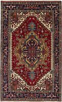 """Hand-knotted Carpet 4'9"""" x 7'10"""" Serapi Heritage Traditional Wool Rug"""