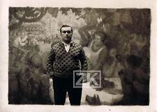 ANDRE REGAGNON Peintre Paysan Ariège Peinture LA FETE AU VILLAGE Photo 1933