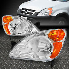 FOR 2002-2004 HONDA CR-V CHROME HOUSING AMBER CORNER BUMPER HEADLIGHT/LAMP SET