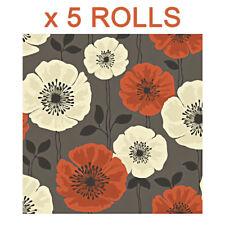 Orange Poppy Wallpaper Chocolate Cream Floral Flowers Bold Print Fine Decor x 5
