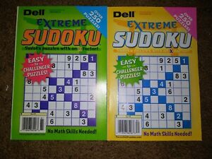 Lot of 2 New Dell Extreme Sudoku Puzzle Books Over 250 Puzzles in each Book