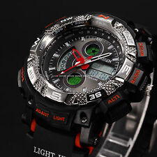 OHSEN Army Military Orange Digital Analog Black Rubber Wrist Men's Sport Watch