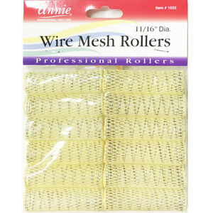 ANNIE WIRE MESH ROLLERS #1022 12 COUNT YELLOW SMALL 11/16""