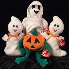 Set of 4 TY Beanie Babies Halloween PUMKIN/SPOOKY/SHEETS