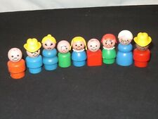 9 OLD FISHER PRICE WOOD LITTLE PEOPLE FIGURES