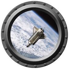 "26"" Inch Space Shuttle Atlantis Porthole Vinyl Wall Decal - Silver Frame"