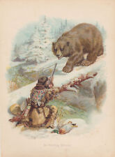 EARLY HUNTER ENCOUNTERS BROWN BEAR ANIMALS WILDLIIFE ART ANTIQUE LITHOGRAPH 1894