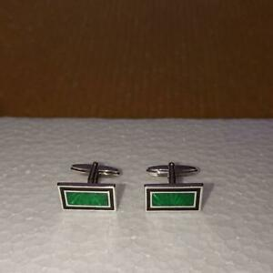 DUNHILL Cufflinks Silver 925 Green Rectangle Toggle no Box