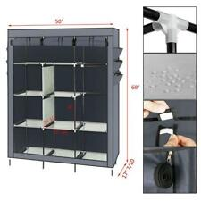 Elegant Closet Cabinet Storage Organizer Non-woven Fabric Clothes Rack Shelves