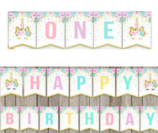 Unicorn One 1St Happy Birthday Party Bunting Banner Party Baby Shower Decoration