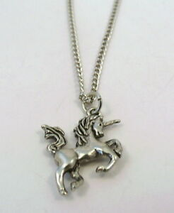 Child's Pewter Unicorn Charm on a Silver Tone Link Chain Necklace - 1039
