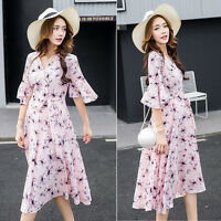 Floral Dress V-neck Maternity Pregnancy Ruffles Sleeves Chiffon 8 10 12 14 16