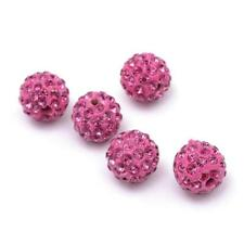 Polymer Clay Disco Ball Beads 10mm Pale Pink 10 Pcs Rhinestone Art Hobby Crafts
