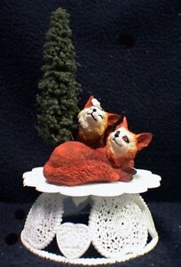 Adorable Fox Foxes Gods Natures Wedding Cake Topper Groom Top Outdoor Animal NEW