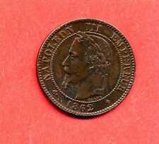 (BR.154) 2 CENTIMES NAPOLÉON III TÊTE LAURÉE 1862 PETIT BB. (STRASBOURG) SUP+