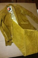 Women Vtg 60'S 70'S Wheels of Man suede bell bottom motorcycle riding suit
