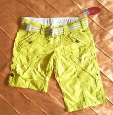 EDC BY ESPRIT PLAY TURN UP CARGO SHORTS BERMUDA HOSE GELBGRÜN 34 XS NEU