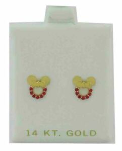 RUBIES STUD BOW EARRINGS 14K YELLOW GOLD *** Screw Backs *** New With Tag ***